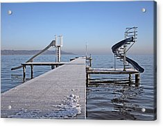 White Frost Slide Acrylic Print by Ralf Kaiser