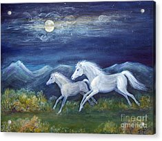 White Horses In Moonlight Acrylic Print
