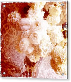 White Hydrangeas With Ranunculus Acrylic Print by Ruby Hummersmith