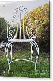 White Metal Garden Chair Acrylic Print by Noam Armonn