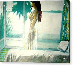 White Negligee Palm Tree Acrylic Print by Harry WEISBURD