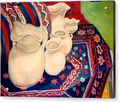 White Pitchers Acrylic Print by Eliezer Sobel