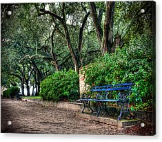 White Point Gardens Bench Acrylic Print by Jenny Ellen Photography