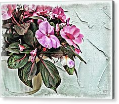 White Pot Acrylic Print by Joan  Minchak