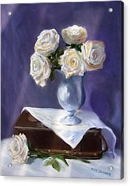 White Roses In A Silver Vase Acrylic Print by Jack Skinner