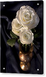Acrylic Print featuring the photograph White Roses by Shirley Mitchell