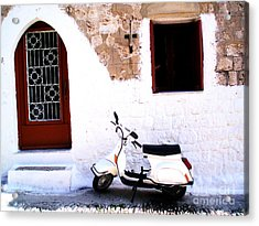 White Scooter Dreams Horizontal Acrylic Print by Anthony Novembre