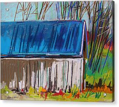 White Slatted Barn Acrylic Print by John Williams