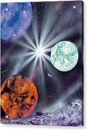 White Star Burst Acrylic Print by Marc Chambers