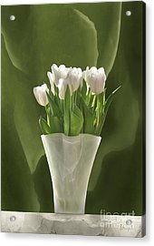 Acrylic Print featuring the digital art White Tulips by Johnny Hildingsson