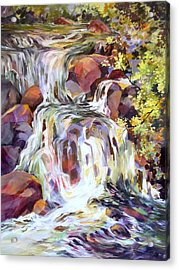 Acrylic Print featuring the painting White Water Tumble by Rae Andrews