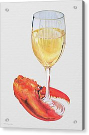 White Wine And Lobster Claw Acrylic Print