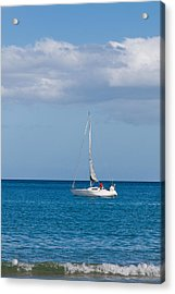 White Yacht Sails In The Sea Along The Coast Line Acrylic Print by Ulrich Schade
