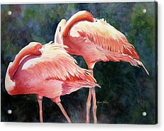 Acrylic Print featuring the painting Who's Peek'n - Flamingos by Roxanne Tobaison