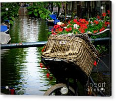 Wicker Bike Basket With Flowers Acrylic Print by Lainie Wrightson
