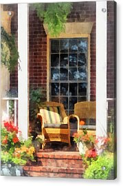 Wicker Chair With Striped Pillow Acrylic Print by Susan Savad