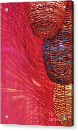 Wicker Light Shades And Pink Wall Acrylic Print by Jeremy Woodhouse