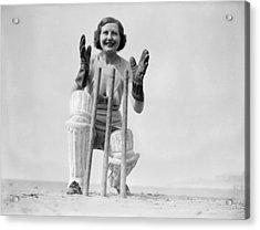 Wicketkeeping Acrylic Print by Fox Photos