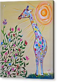 Wild And Crazy Giraffe Acrylic Print