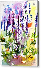Wild Lupines Watercolor By Ginette Acrylic Print