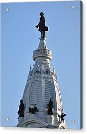 William Penn - On Top Of City Hall Acrylic Print by Bill Cannon