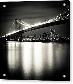Williamsburg Bridge At Night Acrylic Print by Adam Garelick