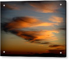 Wind Blown Sunset Sunset Clouds Over Mount Taylor Acrylic Print by Aaron Burrows
