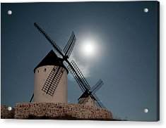 Wind Mills In Light Of Moon Acrylic Print by Noviembre Anita Vela