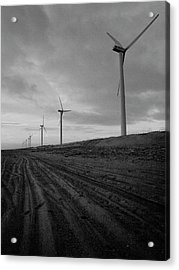 Wind Turbine Plant On Beach Acrylic Print by KUJIRAI kentaro