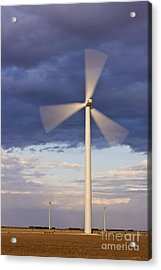 Wind Turbine Spinning At Dusk Acrylic Print by Jeremy Woodhouse