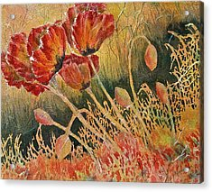 Windblown Poppies Acrylic Print by Carolyn Rosenberger