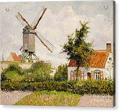 Windmill At Knokke Acrylic Print by Camille Pissarro