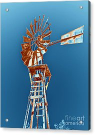 Windmill Rust Orange With Blue Sky Acrylic Print