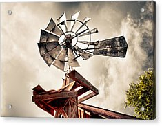 Acrylic Print featuring the photograph Windmill With Storm Approaching by James Bethanis