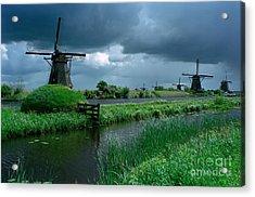 Windmills Of Kinderdijk  Acrylic Print by Serge Fourletoff