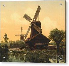 Windmills On The Noordendijk Acrylic Print by Padre Art