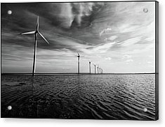 Windmills Out At Sea Acrylic Print by Kenneth McNeil