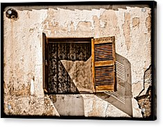 Hanioti, Greece - Window And Lace Acrylic Print