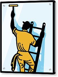 Window Cleaner Worker Cleaning Ladder Retro Acrylic Print by Aloysius Patrimonio