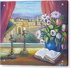 Window View To Jerusalem Acrylic Print by Sara Kesar