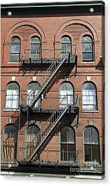 Windows And Fire Escapes Bangor Maine Architecture Acrylic Print by John Van Decker