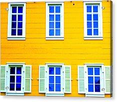 Windows On Yellow Acrylic Print by Randall Weidner