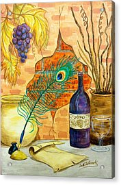 Wine And Feather Acrylic Print