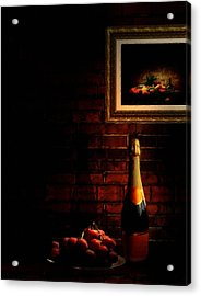 Wine And Grape Acrylic Print by Lourry Legarde