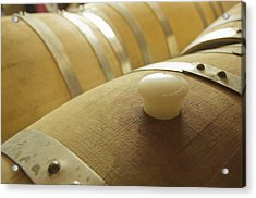 Wine Barrel Detail In Cellar At Winery Acrylic Print by James Forte