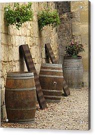 Wine Barrels And Racks In Saint Emilion France Acrylic Print by Greg Matchick