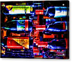 Wine Bottles Acrylic Print by Joan  Minchak