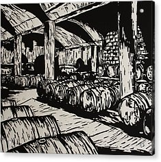 Wine Cellar Acrylic Print by William Cauthern