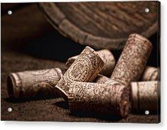 Wine Corks And Barrel Still Life Acrylic Print by Tom Mc Nemar
