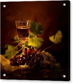 Wine Glass And Grapes Acrylic Print by Ellie Caputo